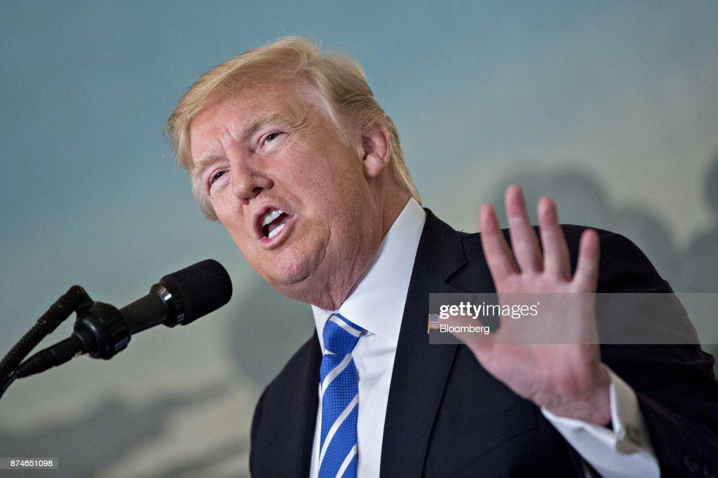 President Trump Delivers Remarks On His 11-Day Trip To Asia : News Photo