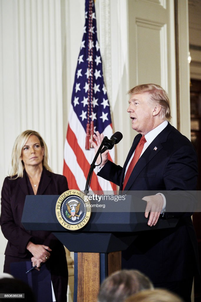 U.S. President Donald Trump speaks while introducing Kirstjen Nielsen, U.S. secretary of Homeland Security nominee, at the White House in Washington, D.C., U.S., on Thursday, Oct. 12, 2017. Trump announced his nomination of Kirstjen Nielsen, a top aide to White House Chief of Staff John Kelly, to succeed him as secretary of Homeland Security. Photographer: T.J. Kirkpatrick/Bloomberg via Getty Images