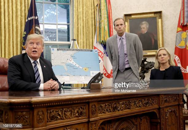 S President Donald Trump speaks while meeting with FEMA Administrator Brock Long and Homeland Security Secretary Kirstjen Nielsen in the Oval Office...