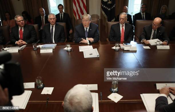 President Donald Trump speaks while meeting with members of his cabinet November 1, 2017 in Washington, DC. During his remarks, Trump commented on...