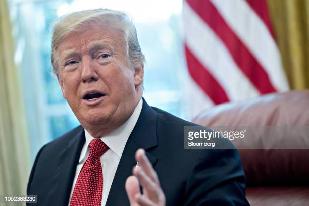 US President Donald Trump speaks while meeting with workers in the Oval Office of the White House during a 'Cutting the Red Tape Unleashing Economic...