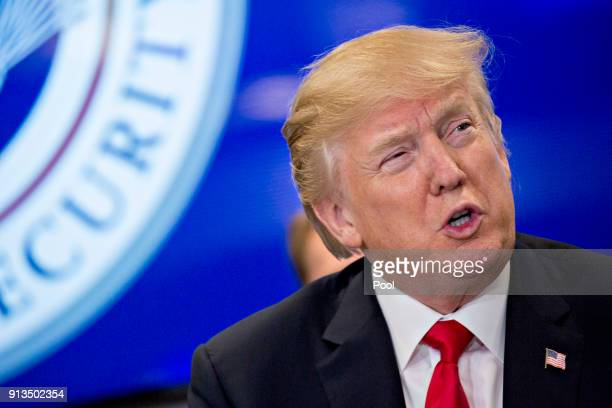 US President Donald Trump speaks while participating in a Customs and Border Protection roundtable discussion after touring the CBP National...