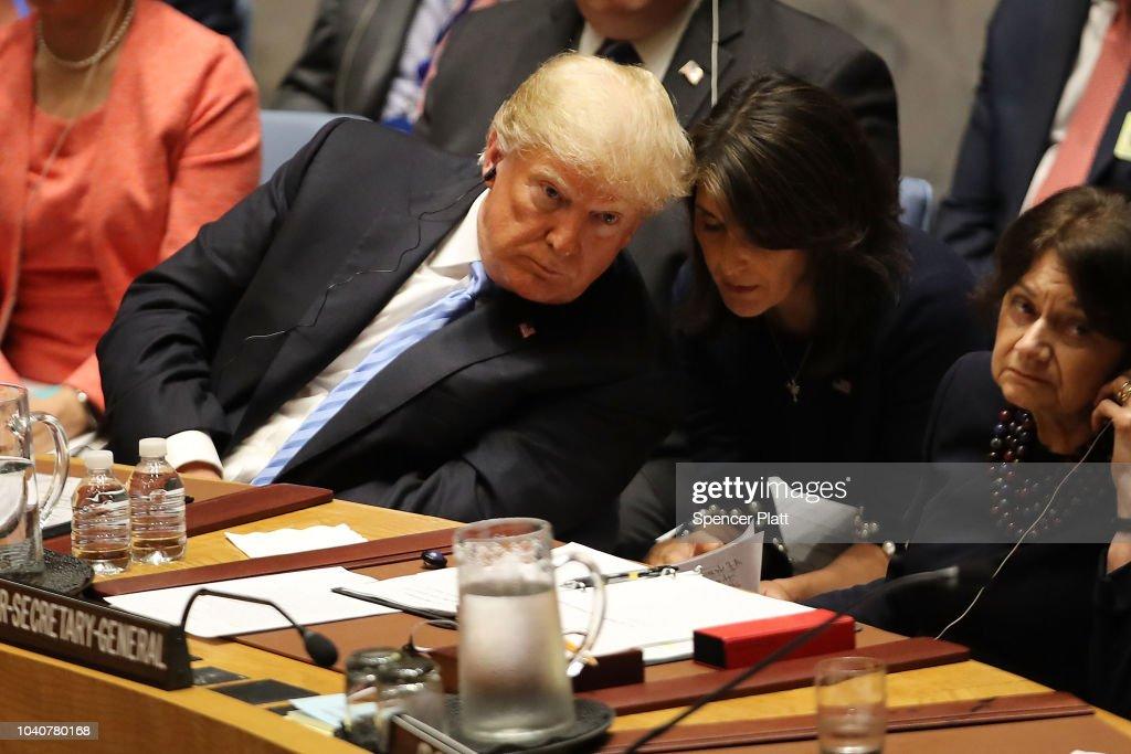 President Donald Trump Chairs UN Security Council Meeting On Iran : News Photo