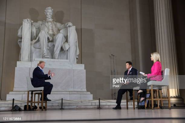 President Donald Trump speaks with news anchors Bret Baier and Martha MacCallum during a Virtual Town Hall inside of the Lincoln Memorial on May 3,...