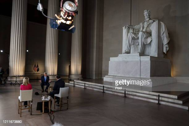 President Donald Trump speaks with news anchors Martha MacCallum and Bret Baier during a Virtual Town Hall inside of the Lincoln Memorial on May 3,...