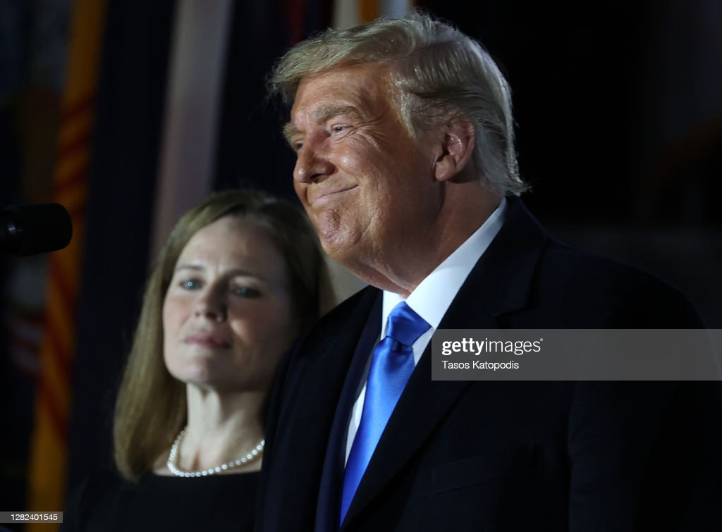 Amy Coney Barrett Is Sworn-In As New Supreme Court Justice At The White House : News Photo