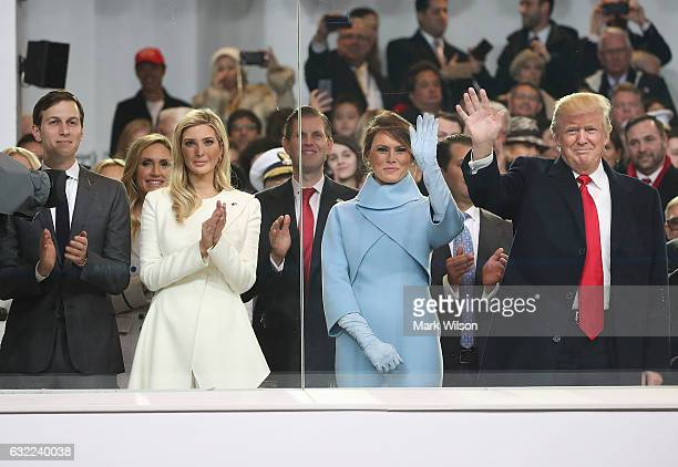 President Donald Trump , stands with his wife first lady Melania Trump, daughter Ivanka Trump and her husband Jared Kushner, inside of the inaugural...
