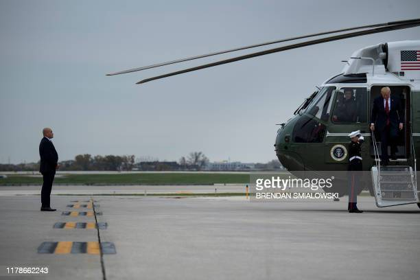 US President Donald Trump steps down Marine One at O'Hare International Airport October 28 in Chicago Illinois