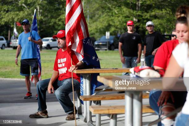 President Donald Trump supporter Douglas Kimsey attends the RNC 2020 Trump Biker Rally Back the Blue Parade held at Park Road Park on August 27 2020...