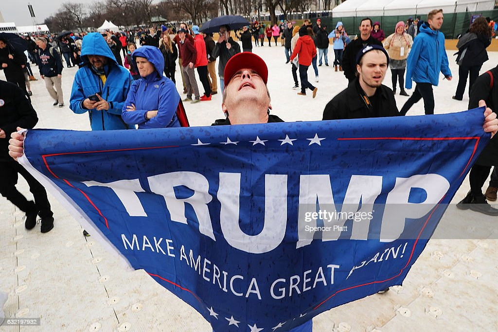 Protesters And Trump Supporters Gather In D.C. For US President Donald Trump Inauguration : News Photo