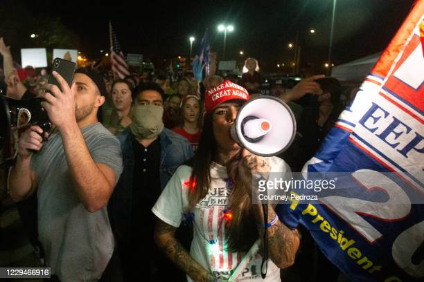President Donald Trump supporters gather to protest the election results at the Maricopa County Elections Department office on November 4, 2020 in...