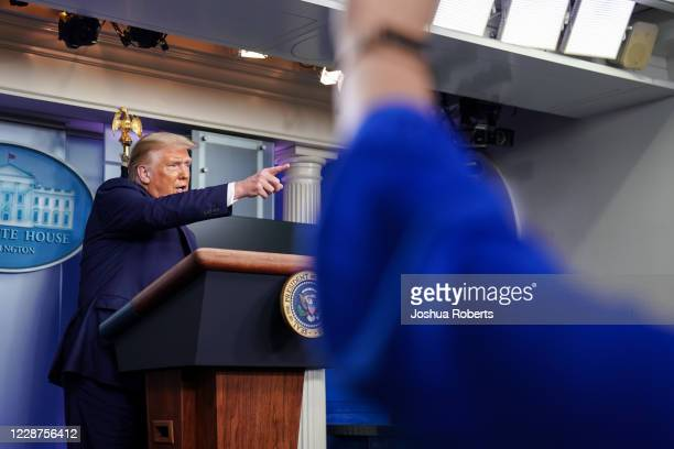 S President Donald Trump takes a question during a news conference in the Briefing Room of the White House on September 27 2020 in Washington DC...