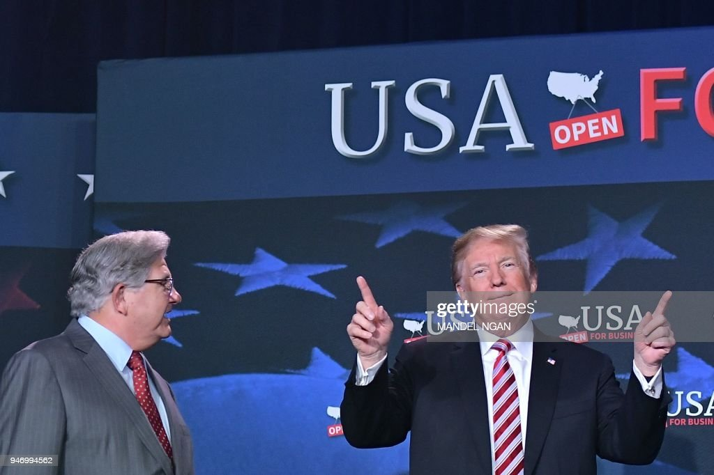 US President Donald Trump takes part in a roundtable discussion on tax reform at Bucky Dent Park in Hialeah, Florida on April 16, 2018. /