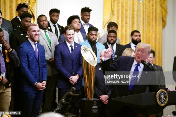 US President Donald Trump takes part in an event honoring the 2019 College Football National Champions the Louisiana State University Tigers in the...