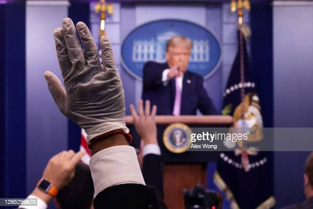 President Donald Trump takes questions during a news conference in the James Brady Press Briefing Room of the White House August 11, 2020 in...