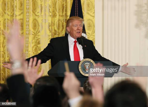S President Donald Trump takes questions from reporters during a news conference in the East Room at the White House on February 16 2017 in...