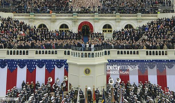 US President Donald Trump takes the oath of allegiance during his swearingin ceremony on January 20 2017 at the US Capitol in Washington DC / AFP /...