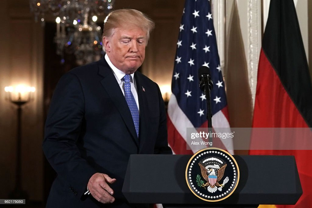 President Trump And German Chancellor Angela Merkel Hold Joint News Conference In East Room Of White House : News Photo