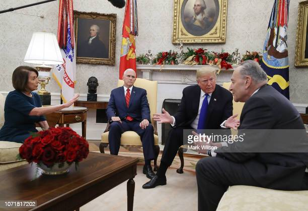 S President Donald Trump talks about border security with Senate Minority Leader Chuck Schumer and House Minority Leader Nancy Pelosi as Vice...