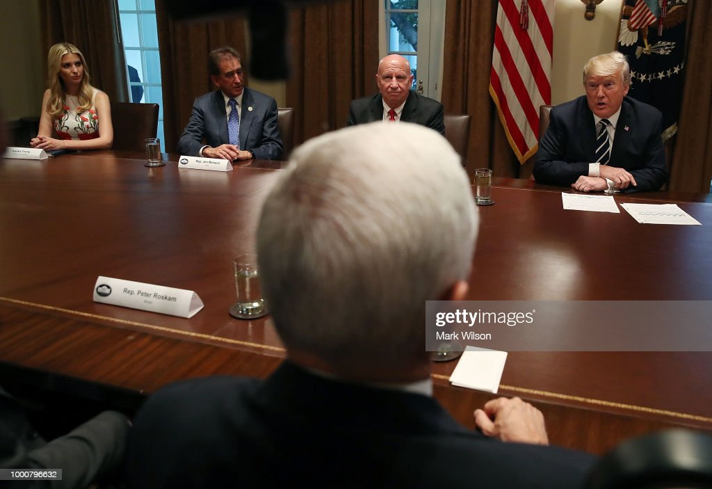 U.S. President Donald Trump (R) talks about his meeting with Russian President Vladimir Putin, during a meeting with House Republicans in the Cabinet Room of the White House on July 17, 2018 in Washington, DC. Following a diplomatic summit in Helsinki, Trump faced harsh criticism after a press conference with Putin where he would not say whether he believed Russia meddled with the 2016 presidential election.