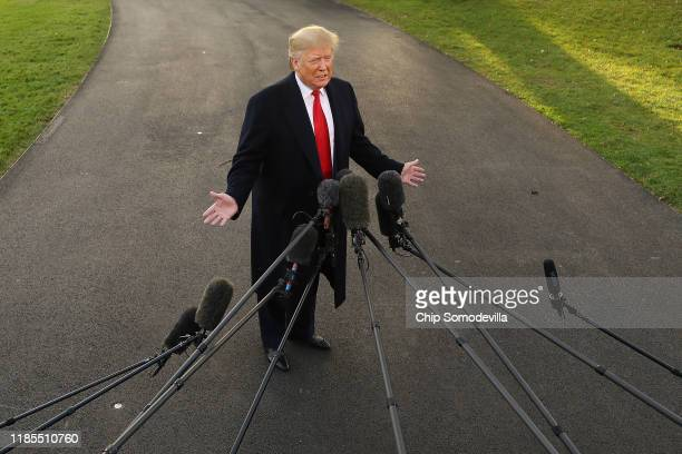 President Donald Trump talks to journalists while departing the White House November 04, 2019 in Washington, DC. Trump is traveling to Kentucky for a...