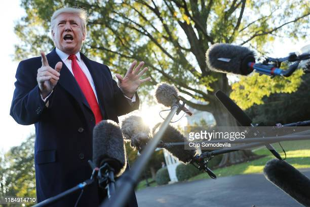 President Donald Trump talks to reporters before departing the White House November 01, 2019 in Washington, DC. Trump is traveling to Tupelo,...