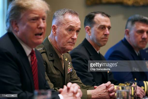 S President Donald Trump talks to reporters during a briefing with military leaders including Chairman of the Joint Chiefs Gen Joseph Dunford Chief...