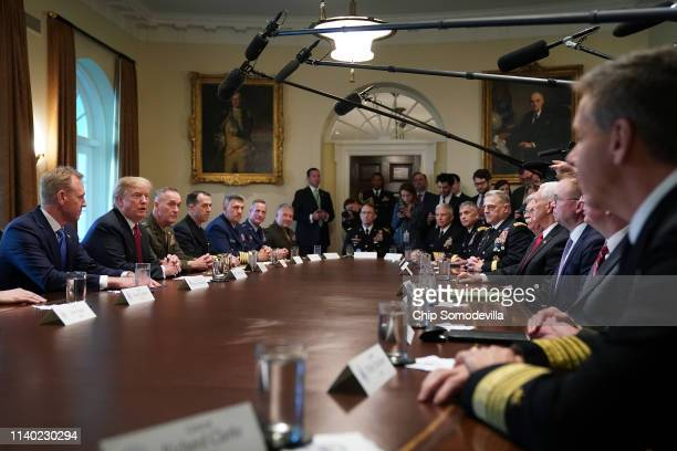 S President Donald Trump talks to reporters during a briefing with military leaders including acting Defense Secretary Patrick Shanahan and others in...