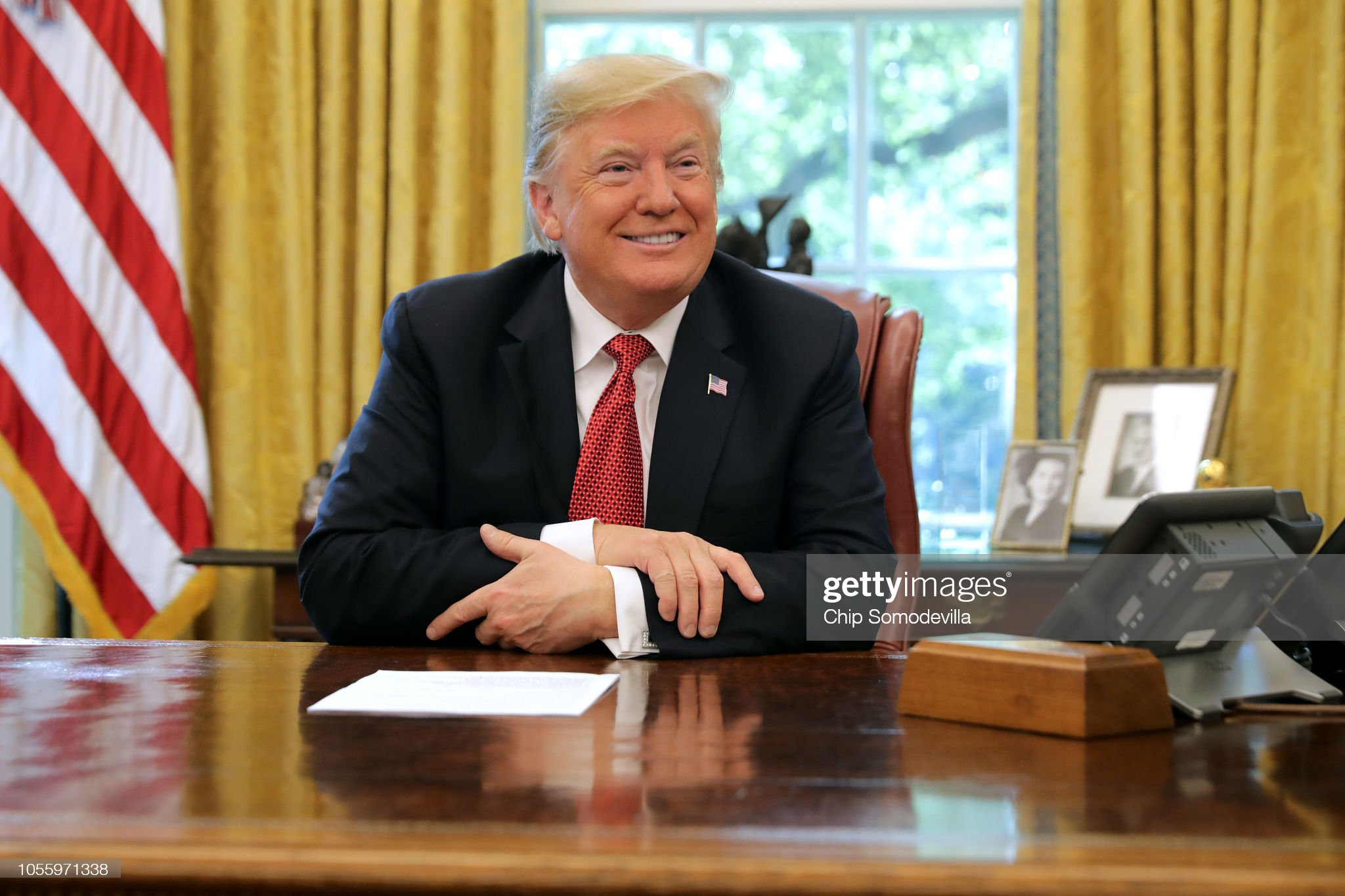 President Trump Meets With Workers In White House On Economic Plan : News Photo