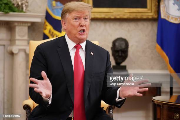 President Donald Trump talks to reporters while welcoming NATO Secretary General Jens Stoltenberg to the White House April 02, 2019 in Washington,...
