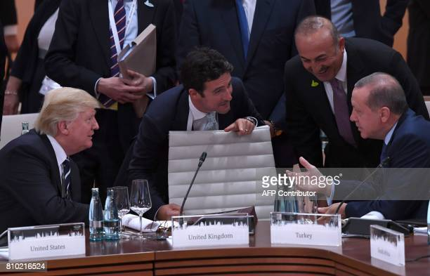 US President Donald Trump talks to Turkey's President Recep Tayyip Erdogan ahead a working session on the first day of the G20 summit in Hamburg...