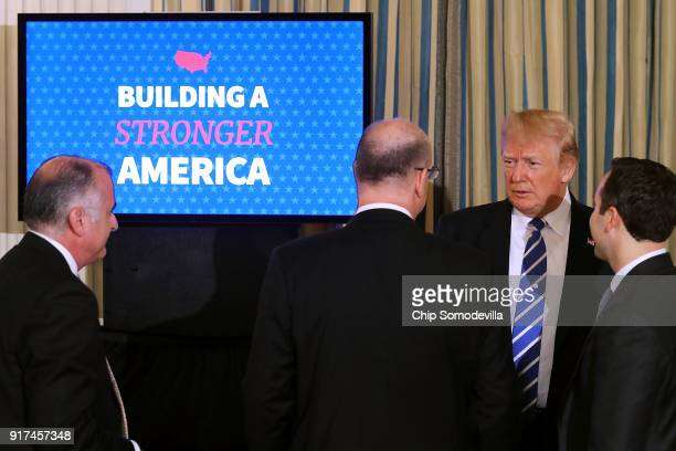S President Donald Trump talks with MiamiDade County Chairman Esteban Bovo Wichita Mayor Jeff Longwell and Assistant to the President Reed Cordish at...