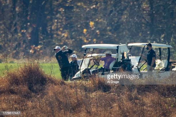 President Donald Trump tees off as he golfs at Trump National Golf Club, on November 7, 2020 in Sterling, Virginia. News outlets projected that...