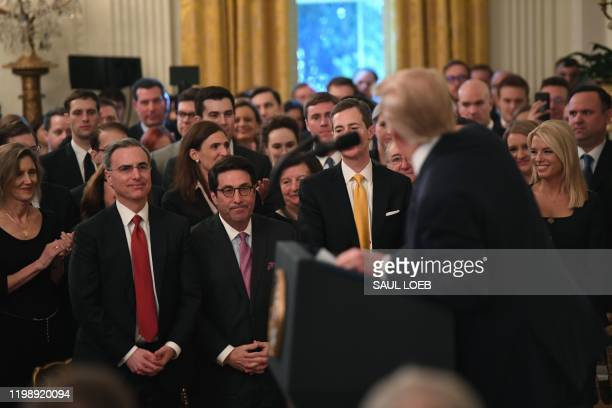 President Donald Trump thanks his White House defense team lawyers Pat Cipollone and his personal lawyer Jay Sekulow and as he speaks about his...