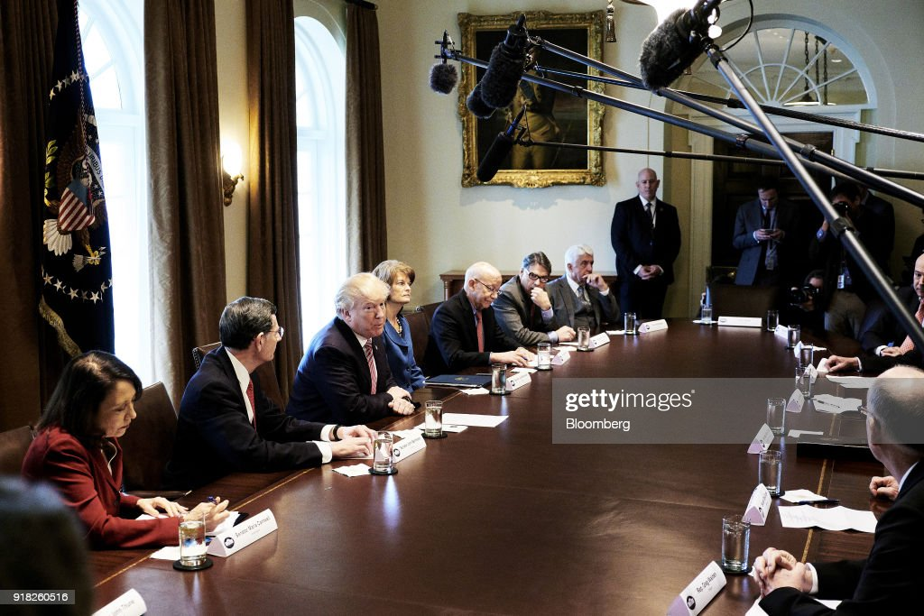 U.S. President Donald Trump, third left, speaks during a meeting with bipartisan members of congress in the Cabinet Room of the White House in Washington, D.C., U.S. on Wednesday, Feb. 14, 2018. Republican lawmakers told Trump the new tariffs hes mulling for aluminum and steel imports would likely do more harm than good, costing greater jobs among automakers and manufacturers than they protect. Photographer: T.J. Kirkpatrick/Bloomberg via Getty Images
