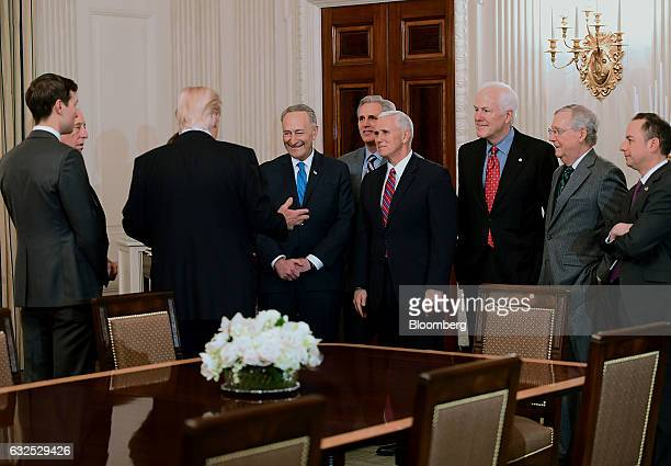 US President Donald Trump third right hosts Democratic and Republican Congressional leaders in the State Dining Room of the White House in Washington...