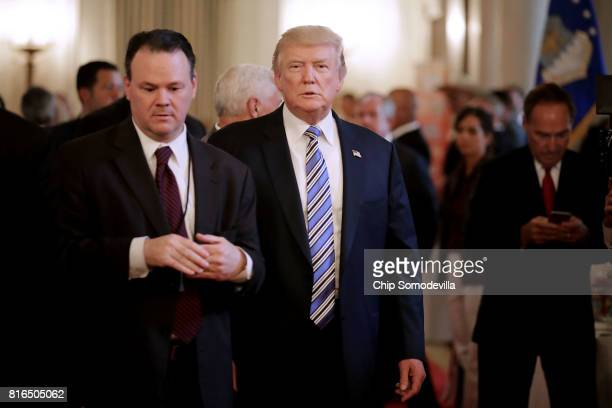 S President Donald Trump tours a Made in America product showcase at the White House July 17 2017 in Washington DC American manufacturers...