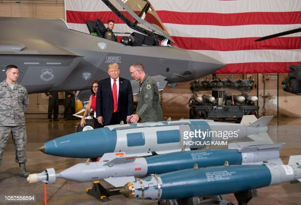 US President Donald Trump tours Luke Air Force Base in Phoenix Arizona where he is for a Make America Great rally on October 19 2018