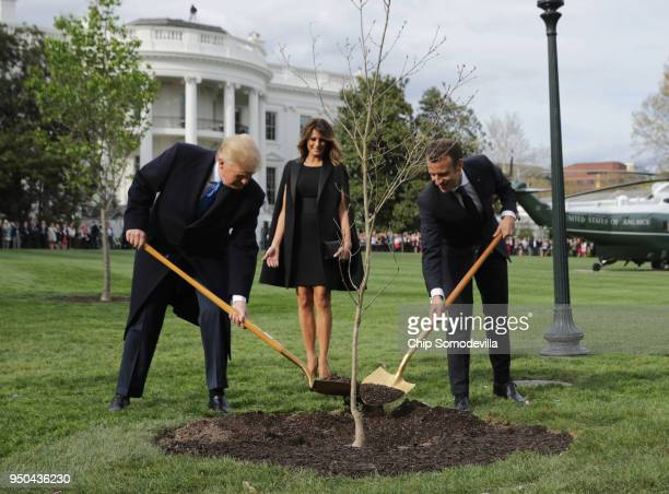 S President Donald Trump US first lady Melania Trump and French President Emmanuel Macron participate in a treeplanting ceremony on the South Lawn of...