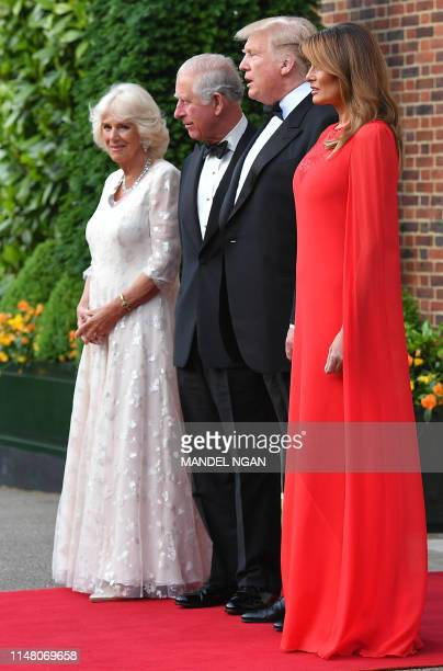 US President Donald Trump US First Lady Melania Trump Britain's Prince Charles Prince of Wales and his wife Britain's Camilla Duchess of Cornwall...