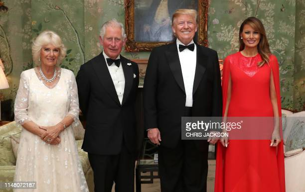 President Donald Trump , US First Lady Melania Trump , Britain's Prince Charles, Prince of Wales , and his wife Britain's Camilla, Duchess of...