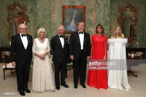 US President Donald Trump US First Lady Melania Trump Britain's Prince Charles Prince of Wales his wife Britain's Camilla Duchess of Cornwall US...