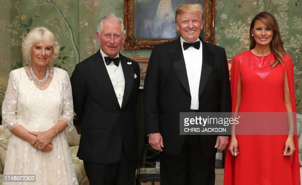 President Donald Trump US First Lady Melania Trump Britain's Prince Charles Prince of Wales and his wife Britain's Camilla Duchess of Cornwall pose...