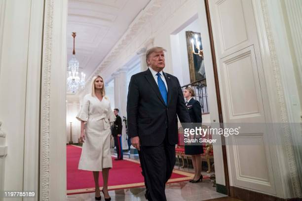 President Donald Trump US Vice President Mike Pence and Senior Advisor to President Trump Ivanka Trump arrive to the White House Summit on Human...