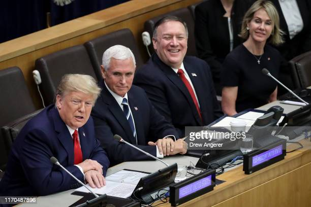 US President Donald Trump US Vice President Mike Pence US Secretary of State Mike Pompeo and US Ambassador to the United Nations Kelly Craft attend a...