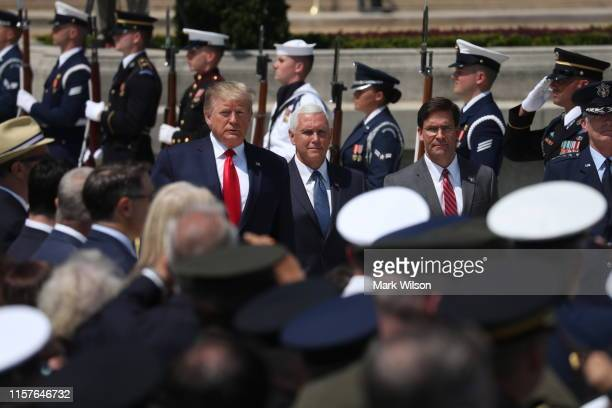 S President Donald Trump Vice President Mike Pence participates in a full honors welcome ceremony for new Secretary of Defense Dr Mark Esper on the...