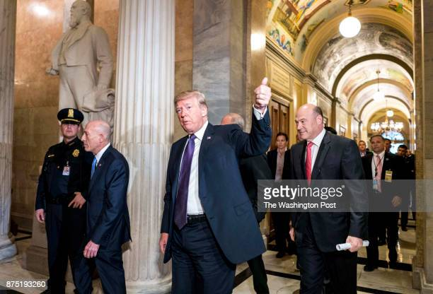 WASHINGTON DC President Donald Trump visits Capitol Hill to meet with Republicans on the day the House will be voting on their tax bill on the floor...
