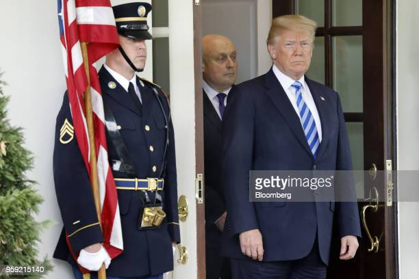 US President Donald Trump waits for the arrival of Shavkat Mirziyoev Uzbekistan's president not pictured ahead of a bilateral meeting at the White...