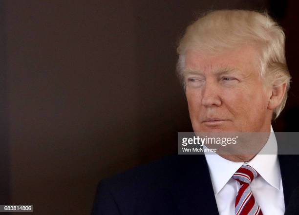 President Donald Trump waits on the arrival of Turkish President Recep Tayyip Erdogan at the White House May 16, 2017 in Washington, DC. Trump and...