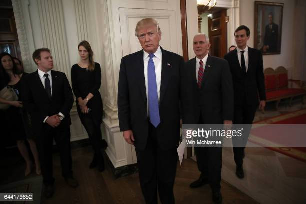 S President Donald Trump waits to be introduced with US Vice President Mike Pence and senior advisor to the President Jared Kushner before Trump...